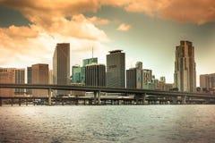 Puesta del sol de Miami Imágenes de archivo libres de regalías