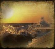 Puesta del sol de Michigan de lago Foto de archivo