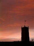 Puesta del sol de Middeval Imagenes de archivo