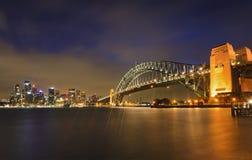 Puesta del sol de Milsons del puente de Sydney CBD Fotos de archivo