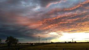 Puesta del sol de Montanna Fotos de archivo libres de regalías