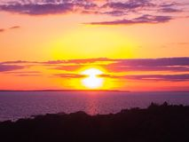 Puesta del sol de Montauk Fotos de archivo libres de regalías