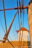 Puesta del sol de Mykonos Imagen de archivo