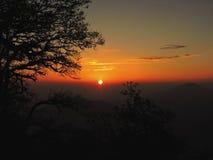 Puesta del sol de NAINITAL Imágenes de archivo libres de regalías