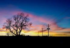 Puesta del sol de Nebraska Fotografía de archivo libre de regalías
