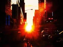 Puesta del sol de New York City Imágenes de archivo libres de regalías