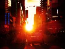 Puesta del sol de New York City Fotos de archivo libres de regalías