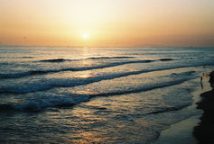 Puesta del sol de Newport Imagen de archivo libre de regalías