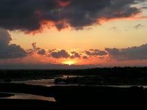 Puesta del sol de Newport Foto de archivo libre de regalías