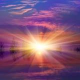 Puesta del sol de Nise sobre el lago Imagen de archivo