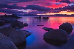 Puesta del sol de Northe el lago Tahoe Fotos de archivo libres de regalías