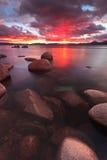 Puesta del sol de Northe el lago Tahoe Imagen de archivo