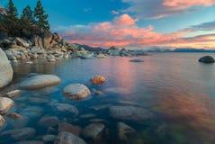 Puesta del sol de Northe el lago Tahoe Fotografía de archivo libre de regalías