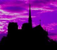 Puesta del sol de Notre Dame París fotografía de archivo