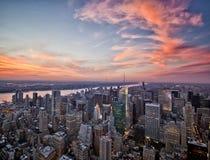Puesta del sol de Nueva York Imagen de archivo