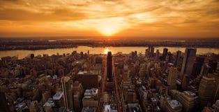 Puesta del sol de Nueva York Foto de archivo libre de regalías