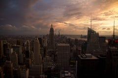 Puesta del sol de Nueva York del Empire State Fotografía de archivo libre de regalías