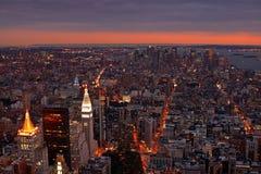 Puesta del sol de NYC Imagen de archivo libre de regalías