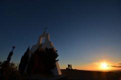 Puesta del sol de observación Calahonda España de la gente Imagen de archivo