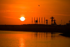 Puesta del sol de Oporto Foto de archivo
