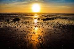 Puesta del sol de oro foto de archivo