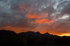 Puesta del sol de oro de Wilpena Imagenes de archivo