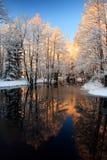 Puesta del sol de oro del río del invierno Imágenes de archivo libres de regalías