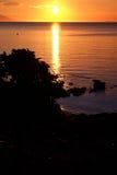 Puesta del sol de oro en Anilao Filipinas Foto de archivo