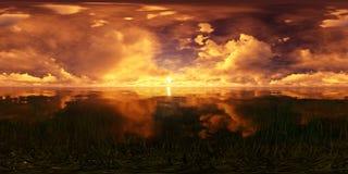 Puesta del sol de oro en el océano Fotografía de archivo