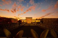 Puesta del sol de oro en los colores de la caída en Yamagata, Japón fotografía de archivo libre de regalías