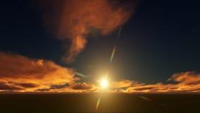 Puesta del sol de oro en un campo Imagen de archivo libre de regalías