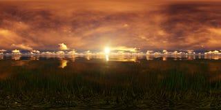 Puesta del sol de oro en un lago Fotos de archivo libres de regalías