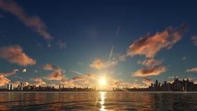 Puesta del sol de oro en una ciudad del rascacielos Fotografía de archivo