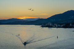 Puesta del sol de oro hermosa sobre el océano y las montañas Imágenes de archivo libres de regalías