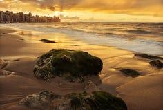 Puesta del sol de oro sobre orilla de mar con paisaje urbano en la línea del horizonte Fotografía de archivo libre de regalías