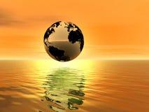 Puesta del sol de oro. Tierra del planeta ilustración del vector