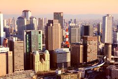 Puesta del sol de Osaka Fotografía de archivo