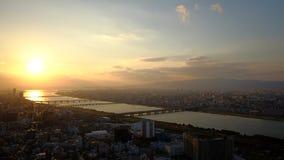 Puesta del sol de Osaka Foto de archivo libre de regalías