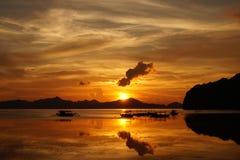 Puesta del sol de Palawan Foto de archivo libre de regalías