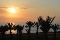 Puesta del sol de Paphos, Chipre Imagenes de archivo