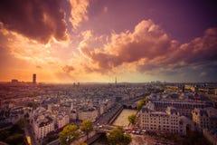 Puesta del sol de París Fotografía de archivo
