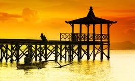 Puesta del sol de Pasir Putih Imágenes de archivo libres de regalías