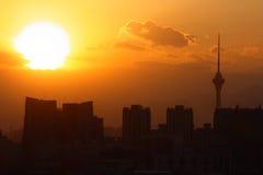 Puesta del sol de Pekín Fotos de archivo libres de regalías