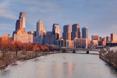 Puesta del sol de Philadelphia Imagen de archivo libre de regalías