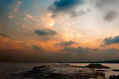 Puesta del sol de piedra del tigre Fotografía de archivo libre de regalías
