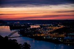 Puesta del sol de Pittsburgh Fotografía de archivo