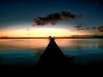 Puesta del sol de Polinesia francesa Imagen de archivo