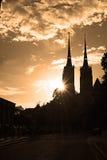 Puesta del sol de Polonia Wroclaw Imagenes de archivo