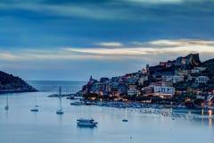 Puesta del sol de Portovenere Fotos de archivo libres de regalías