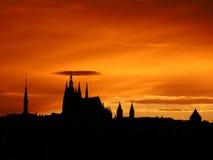 Puesta del sol de Praga Fotos de archivo